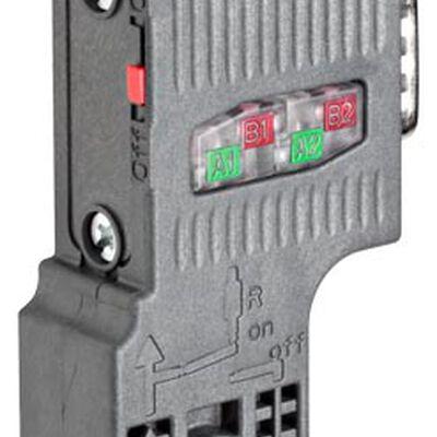 CONECTOR SIEMENS 6ES7972-0BA52-0XA0 PARA PROFIBUS HASTA 12 MBITS/S SALIDA DE CABLE A 90 GRADOS  CONEXIÓN POR PERFORACIÓN DEL AISLAMIENTO FASTCONNECT SIN CONECTOR HEMBRA PARA PG 158X 59X 356 MM (AN X AL X P)