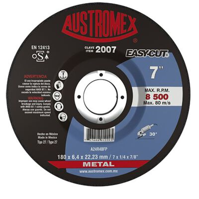 DISCO AUSTROMEX 2007 ABRASIVO PARA PULIDOR 7 X 1/4 X 7/8 IN