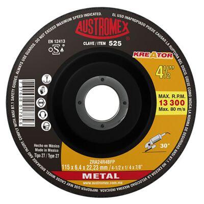 DISCO AUSTROMEX 525 CON CENTRO DEPRIMIDO PARA DESBASTE DE METAL 4-1/2X1/4X7/8 IN